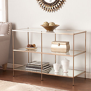 Gold Finished Glass Console Table, , rollover