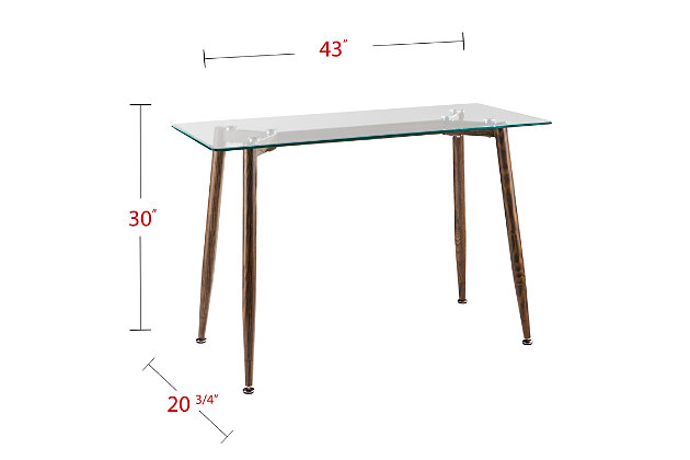 Beveled Glass Top Console Table, , large