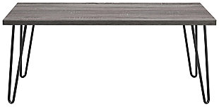 Distressed Gray Finish Ashton Retro Coffee Table, , large