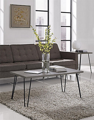 Distressed Gray Finish Ashton Retro Coffee Table, , rollover
