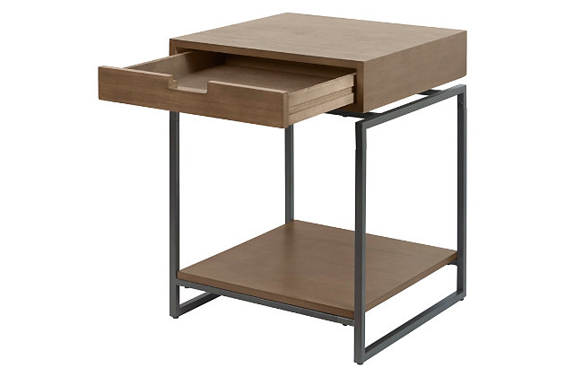 Floating Top End Table with Drawer, , large
