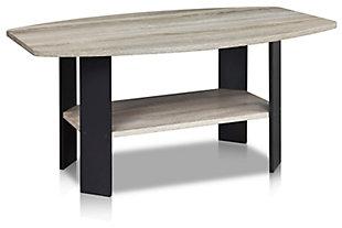 Oak Grey Finish Simple Design Coffee Table, , large