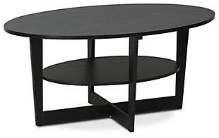 Walnut Finish JAYA Oval Coffee Table, , large