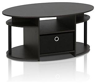 Walnut Finish JAYA Simple Design Oval Coffee Table with Bin, , large