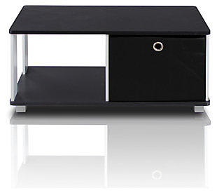 Black and White Basic Home Living Coffee Table with Bin Drawer, , large