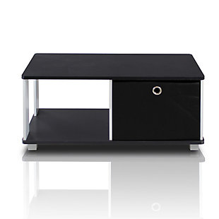 Black and White Basic Home Living Coffee Table with Bin Drawer, , rollover