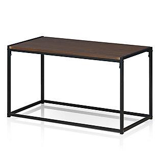 Dark Walnut Finish Modern Coffee Table, , large