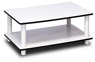 White Just 2-Tier No Tools Coffee Table, , large