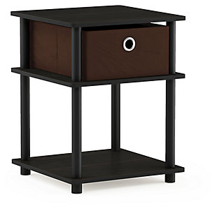 Espresso Finish Turn-N-Tube 3-Tier End Table with Storage Bin, , large