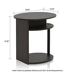 Walnut Finish JAYA Simple Design Oval End Table, , large