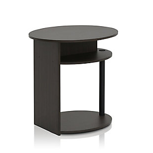Walnut Finish JAYA Simple Design Oval End Table, , rollover