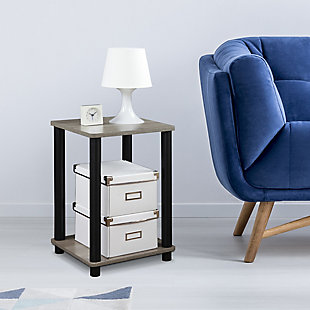 Oak Grey Finish Turn-N-Tube Haydn End Table, , rollover