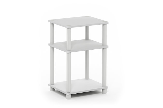 White and Black Just 3-Tier Turn-N-Tube End Table, , large