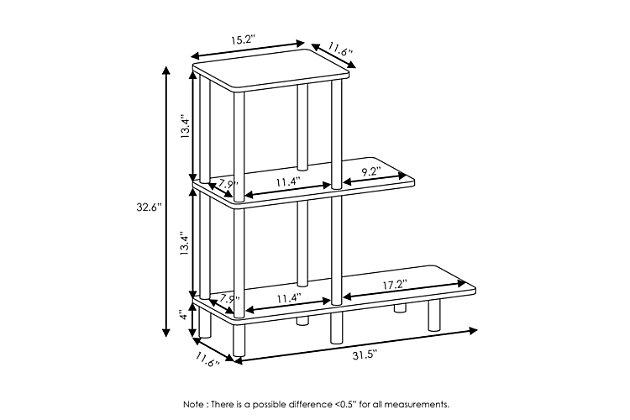 Espresso Finish Turn-N-Tube 3-Tier Sofa Side Table Tall, , large
