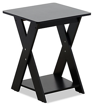Espresso Finish Modern Simplistic Criss-Crossed End Table, , large