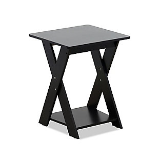 Espresso Finish Modern Simplistic Criss-Crossed End Table, , rollover