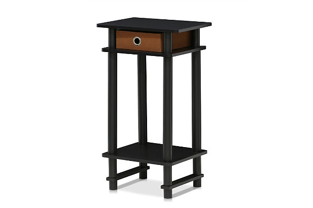 Espresso Finish Turn-N-Tube Tall End Table with Bin, , large