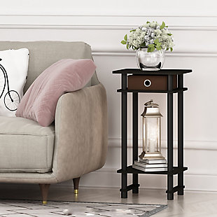 Espresso Finish Turn-N-Tube Tall End Table with Bin, , rollover