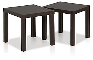 Espresso Finish Classic Cubic End Table (Set of 2), , large