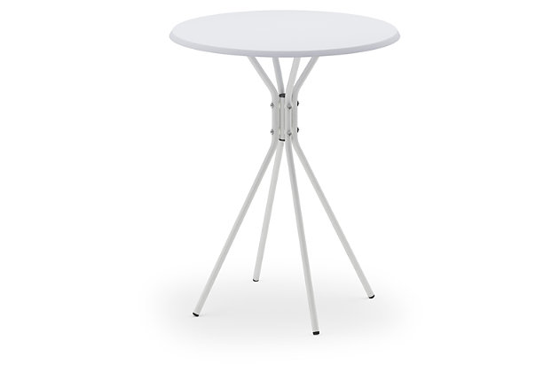 White Theo Round Side Table with Crossed Legs, , large