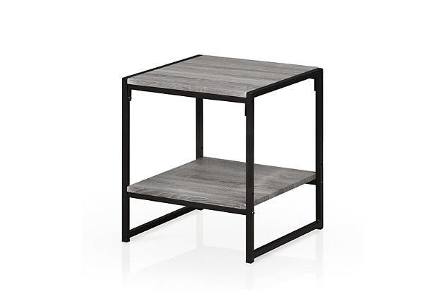 Oak Grey Finish Modern 2-Tier End Table, , large