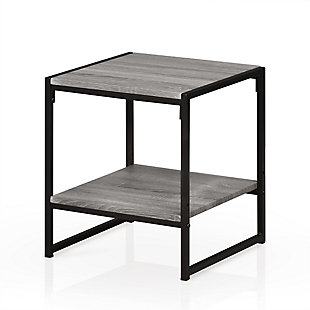 Oak Grey Finish Modern 2-Tier End Table, , rollover