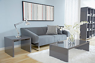Abby Abby Rectangle Coffee Table in High Gloss Gray, Gray, rollover