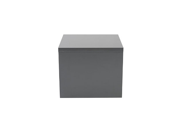 Abby Abby Square Side Table in High Gloss Gray, Gray, large