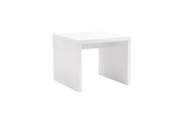 Abby Abby Square Side Table in High Gloss White, White, large
