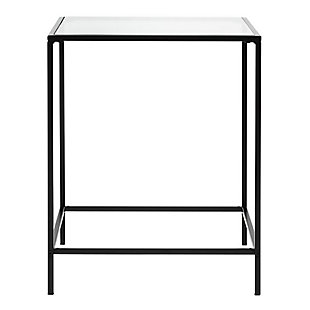 "Arvi Arvi 24"" Side Table in Clear Glass with Black Base, Clear/Black, rollover"