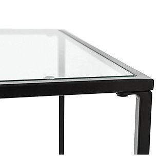 "Arvi Arvi 24"" Side Table in Clear Glass with Black Base, Clear/Black, large"