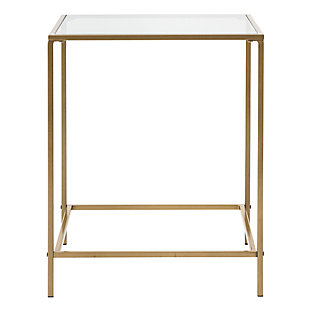 "Arvi Arvi 24"" Side Table in Clear Glass with Brass Base, Clear/Brass, rollover"