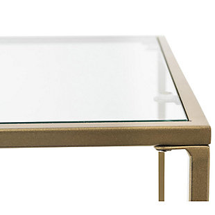 "Arvi Arvi 24"" Side Table in Clear Glass with Brass Base, Clear/Brass, large"