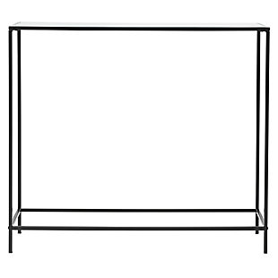 "Arvi Arvi 36"" Console in Clear Glass with Black Base, Clear/Black, rollover"
