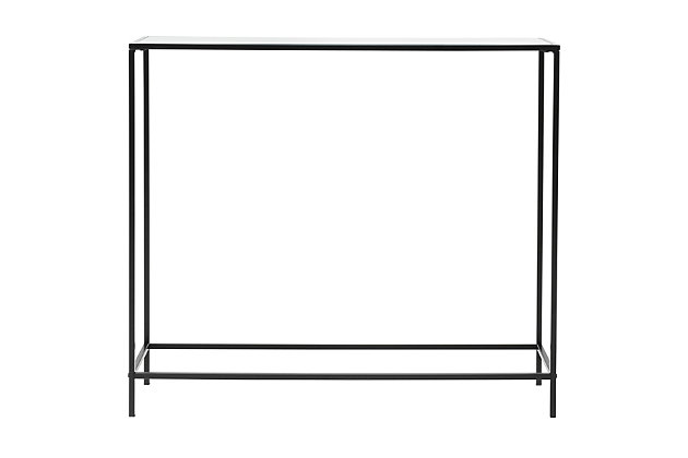 """Arvi Arvi 36"""" Console in Clear Glass with Black Base, Clear/Black, large"""