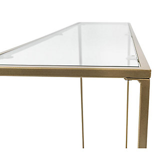 """Arvi Arvi 36"""" Console in Clear Glass with Brass Base, Clear/Brass, large"""