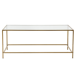 "Arvi Arvi 44"" Coffee Table in Clear Glass with Brass Base, , rollover"