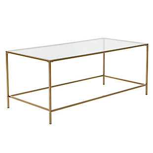 "Arvi Arvi 44"" Coffee Table in Clear Glass with Brass Base, , large"