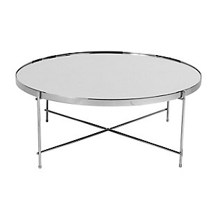 "Juno 32"" Coffee Table in Silver Mirror and Chrome, , rollover"