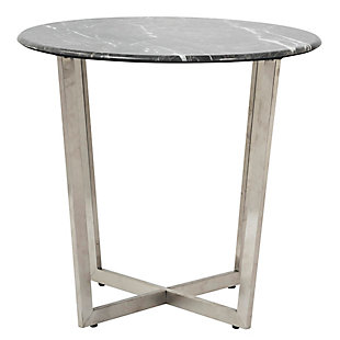 "Llona Llona 24"" Round Side Table in Black Marble Melamine with Brushed Stainless Steel Base, Black, rollover"