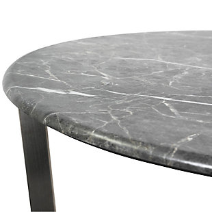 "Llona Llona 24"" Round Side Table in Black Marble Melamine with Brushed Stainless Steel Base, Black, large"