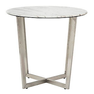 "Llona Llona 24"" Round Side Table in White Marble Melamine with Brushed Stainless Steel Base, White, rollover"