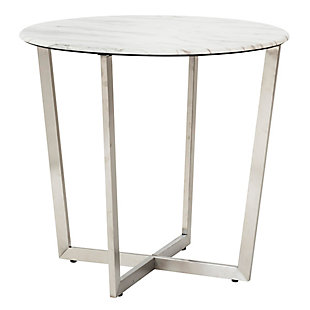"Llona Llona 24"" Round Side Table in White Marble Melamine with Brushed Stainless Steel Base, White, large"
