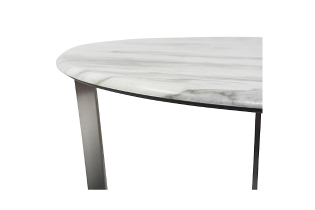 """Llona Llona 24"""" Round Side Table in White Marble Melamine with Brushed Stainless Steel Base, White, large"""