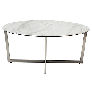 "Llona Llona 36"" Round Coffee Table in White Marble Melamine with Brushed Stainless Steel Base, , rollover"