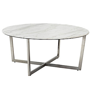 "Llona Llona 36"" Round Coffee Table in White Marble Melamine with Brushed Stainless Steel Base, White, large"