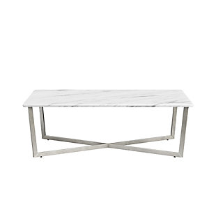 "Llona Llona 47.5"" Rectangle Coffee Table in White Marble Melamine with Brushed Stainless Steel Base, White, rollover"