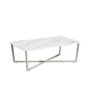 "Llona Llona 47.5"" Rectangle Coffee Table in White Marble Melamine with Brushed Stainless Steel Base, White, large"