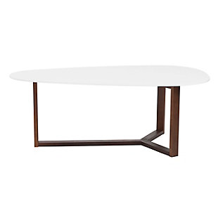 Morty Coffee Table in Matte White with Dark Walnut Base, , large