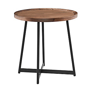 "Niklaus Niklaus 22"" Round Side Table in American Walnut and Black, , rollover"